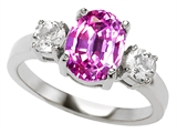 Original Star K™ 9x7mm Oval Created Pink Sapphire Engagement Ring