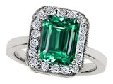 Original Star K 10x8mm Emerald Cut Simulated Emerald Engagement Ring