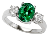 Original Star K 9x7mm Oval Simulated Emerald Engagement Ring