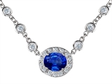 Original Star K Oval 10x8mm Created Sapphire Necklace