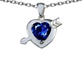 Original Star K Heart with Cupid`s Arrow Love Pendant with Created Sapphire