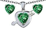 Original Star K Simulated Emerald Heart with Arrow Pendant Box Set with Free matching earrings