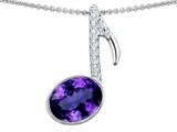 Original Star K Musical Note Pendant With Simulated Amethyst Oval 11x9mm