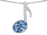 Original Star K Musical Note Pendant With Simulated Aquamarine Oval 11x9mm