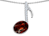 Original Star K™ Musical Note Pendant With Simulated Garnet Oval 11x9mm