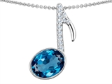 Original Star K Musical Note Pendant With Simulated Blue Topaz Oval 11x9mm