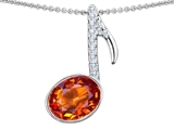Original Star K™ Musical Note Pendant With Simulated Orange Mexican Fire Opal Oval 11x9mm