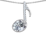 Star K™ Musical Note Pendant Necklace With Genuine White Topaz Oval 11x9mm style: 307332