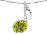Original Star K Musical Note Pendant With Simulated Peridot Oval 11x9mm