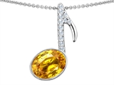 Original Star K Musical Note Pendant With Simulated Citrine Oval 11x9mm