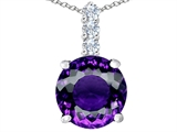 Star K™ Large 12mm Round Simulated Amethyst Pendant Necklace style: 307336