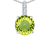 Star K™ Large 12mm Round Simulated Peridot Pendant Necklace style: 307339