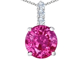 Star K™ Large 12mm Round Created Pink Sapphire Pendant Necklace style: 307349