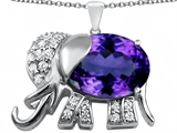Original Star K Large 12x10mm Oval Simulated Amethyst Good Luck Elephant Pendant