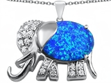 Star K™ Large 12x10mm Oval Blue Created Opal Good Luck Elephant Pendant Necklace style: 307371