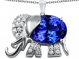 Original Star K Large 12x10mm Oval Simulated Tanzanite Good Luck Elephant Pendant