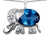 Original Star K Large 12x10mm Oval Simulated Blue Topaz Good Luck Elephant Pendant