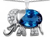 Original Star K™ Large 12x10mm Oval Simulated Blue Topaz Good Luck Elephant Pendant style: 307374