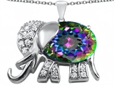 Original Star K Large 12x10mm Oval Rainbow Mystic Topaz Good Luck Elephant Pendant