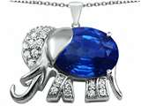 Original Star K Large 12x10mm Oval Created Sapphire Good Luck Elephant Pendant