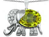 Original Star K™ Large 12x10mm Oval Simulated Peridot Good Luck Elephant Pendant