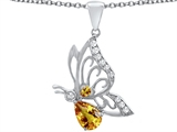 Original Star K Butterfly Pendant With 9x6mm Pear Shape Genuine Citrine