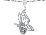 Original Star K Butterfly Pendant With 9x6mm Pear Shape Genuine White Topaz