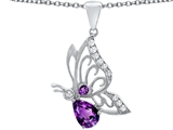 Original Star K™ Butterfly Pendant With 9x6mm Pear Shape Genuine Amethyst