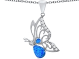 Original Star K Butterfly Pendant With 9x6mm Pear Shape Created Blue Opal