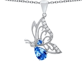 Original Star K™ Butterfly Pendant With 9x6mm Pear Shape Genuine Blue Topaz