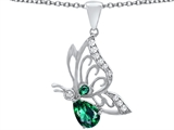 Original Star K Butterfly Pendant With 9x6mm Pear Shape Simulated Emerald