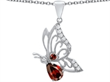 Original Star K Butterfly Pendant With 9x6mm Pear Shape Genuine Garnet