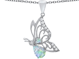 Star K™ Butterfly Pendant Necklace With 9x6mm Pear Shape Created Opal style: 307391