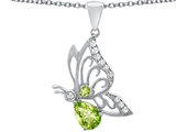 Original Star K Butterfly Pendant With 9x6mm Pear Shape Genuine Peridot