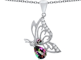 Original Star K™ Butterfly Pendant With 9x6mm Pear Shape Rainbow Mystic Topaz