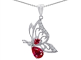 Original Star K Butterfly Pendant With 9x6mm Pear Shape Created Ruby