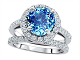 Original Star K 8mm Round Simulated Blue Topaz Engagement Wedding Set