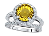 Original Star K 8mm Round Simulated Citrine Engagement Wedding Set