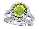 Original Star K 8mm Round Simulated Peridot Engagement Wedding Set