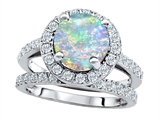 Original Star K™ 8mm Round Simulated Opal Engagement Wedding Set style: 307400