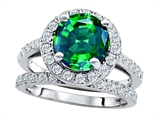 Original Star K 8mm Round Simulated Emerald Engagement Wedding Set