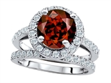 Original Star K 8mm Round Simulated Garnet Engagement Wedding Set