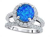 Original Star K 8mm Round Created Blue Opal Engagement Wedding Set