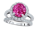 Original Star K 8mm Round Created Pink Sapphire Engagement Wedding Set