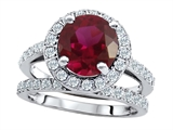Original Star K 8mm Round Created Ruby Engagement Wedding Set