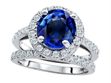 Original Star K 8mm Round Created Sapphire Engagement Wedding Set