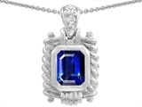 Original Star K Bali Style Emerald Cut 9x7mm Created Sapphire Pendant