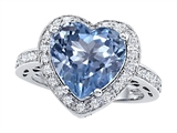 Original Star K Large 10mm Heart Shape Simulated Aquamarine Engagement Wedding Ring