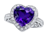 Original Star K™ Large 10mm Heart Shape Simulated Amethyst Engagement Wedding Ring
