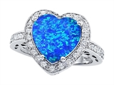 Original Star K Large 10mm Heart Shape Created Blue Opal Engagement Wedding Ring